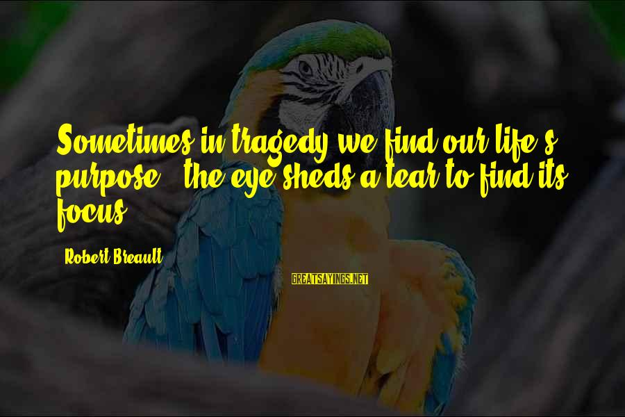 Hugo De Vries Sayings By Robert Breault: Sometimes in tragedy we find our life's purpose - the eye sheds a tear to