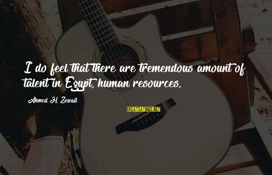Human Resources Sayings By Ahmed H. Zewail: I do feel that there are tremendous amount of talent in Egypt, human resources.