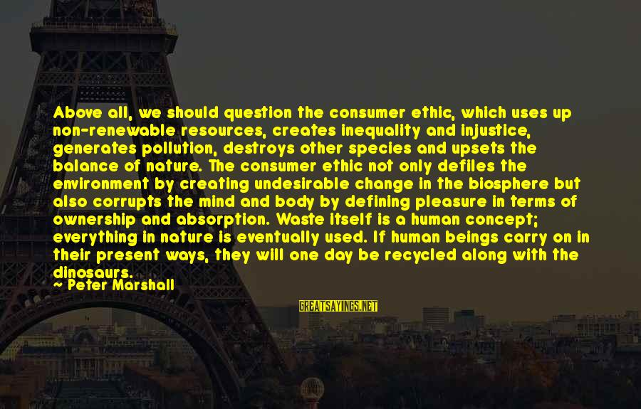 Human Resources Sayings By Peter Marshall: Above all, we should question the consumer ethic, which uses up non-renewable resources, creates inequality
