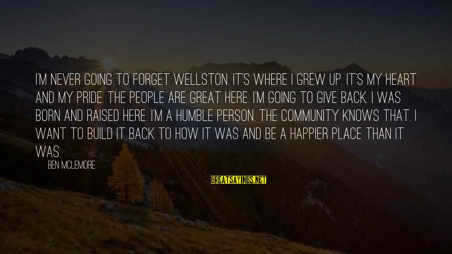 Humble People Sayings By Ben McLemore: I'm never going to forget Wellston. It's where I grew up. It's my heart and