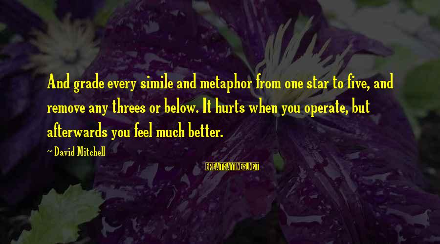 Hurts When Sayings By David Mitchell: And grade every simile and metaphor from one star to five, and remove any threes