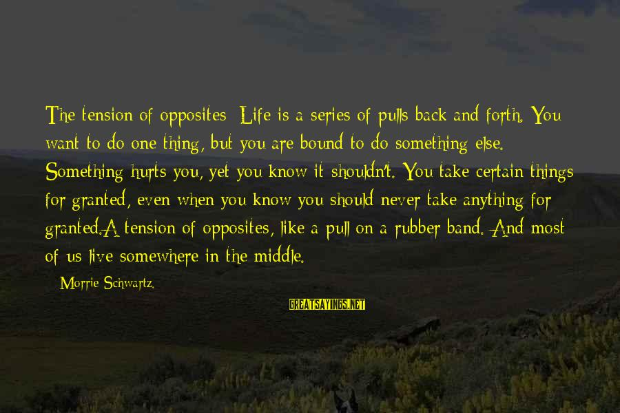 Hurts When Sayings By Morrie Schwartz.: The tension of opposites: Life is a series of pulls back and forth. You want