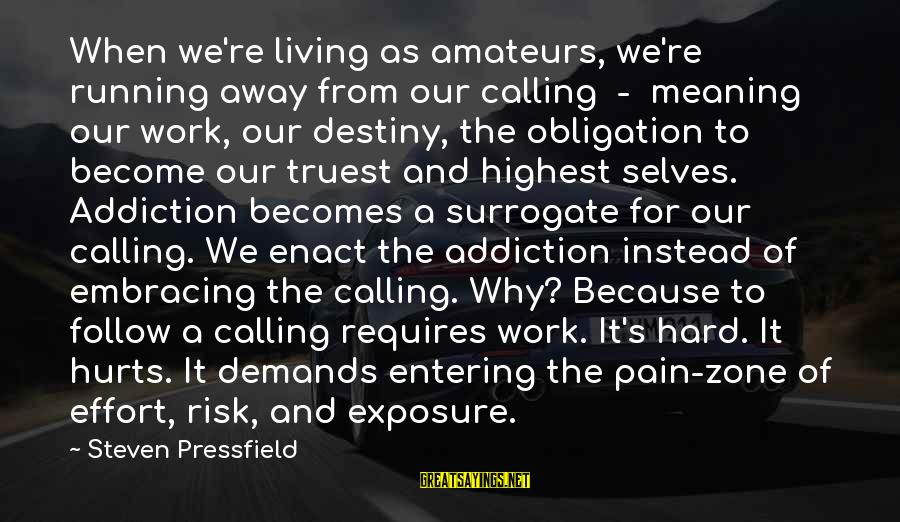 Hurts When Sayings By Steven Pressfield: When we're living as amateurs, we're running away from our calling - meaning our work,