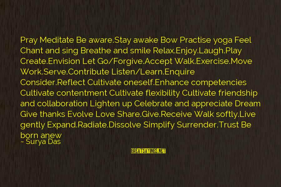 I Appreciate Your Friendship Sayings By Surya Das: Pray Meditate Be aware.Stay awake Bow Practise yoga Feel Chant and sing Breathe and smile