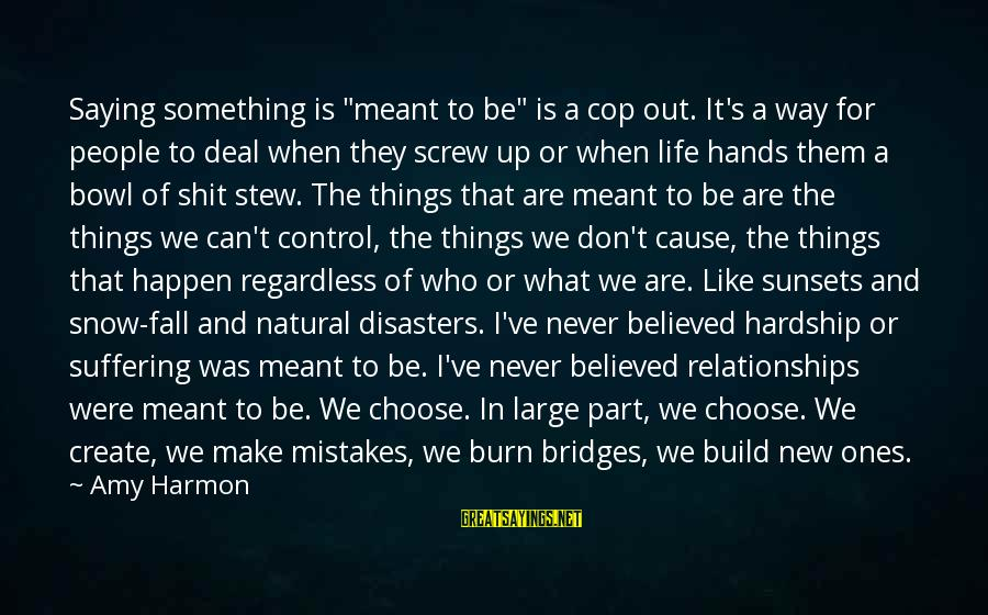 """I Burn Bridges Sayings By Amy Harmon: Saying something is """"meant to be"""" is a cop out. It's a way for people"""