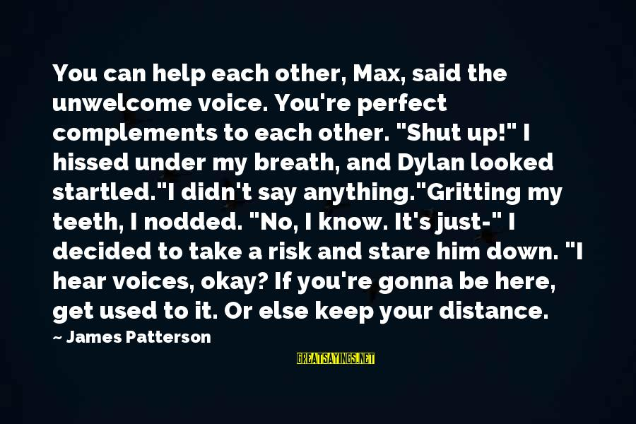 I Can't Hear You Sayings By James Patterson: You can help each other, Max, said the unwelcome voice. You're perfect complements to each
