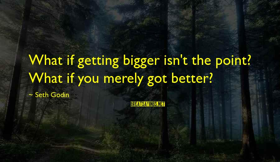 I Got Over U Sayings By Seth Godin: What if getting bigger isn't the point? What if you merely got better?