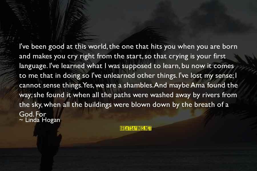 I Just Want To Cry Sayings By Linda Hogan: I've been good at this world, the one that hits you when you are born