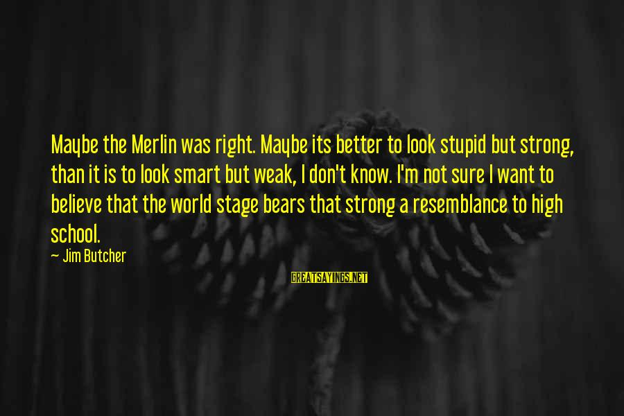 I Know I'm Better Than That Sayings By Jim Butcher: Maybe the Merlin was right. Maybe its better to look stupid but strong, than it