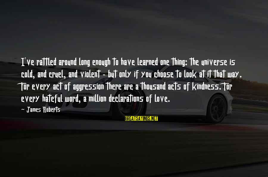 I Love You Universe Sayings By James Roberts: I've rattled around long enough to have learned one thing: the universe is cold, and