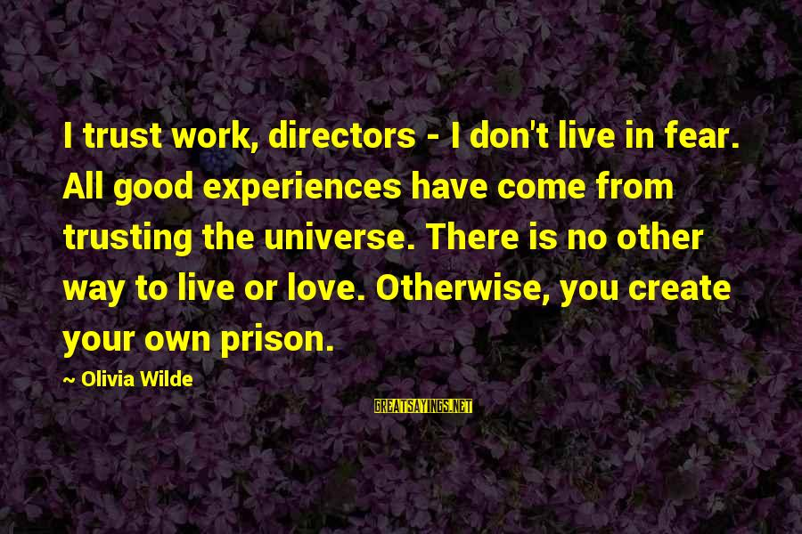 I Love You Universe Sayings By Olivia Wilde: I trust work, directors - I don't live in fear. All good experiences have come