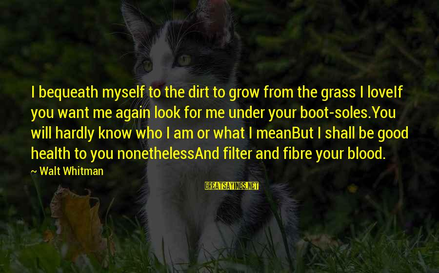 I Love You Universe Sayings By Walt Whitman: I bequeath myself to the dirt to grow from the grass I loveIf you want