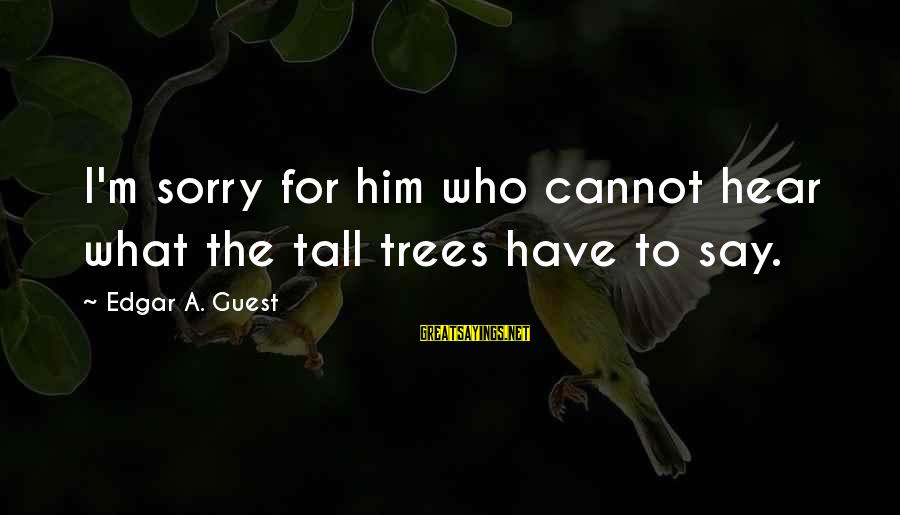 I Say Sorry Sayings By Edgar A. Guest: I'm sorry for him who cannot hear what the tall trees have to say.