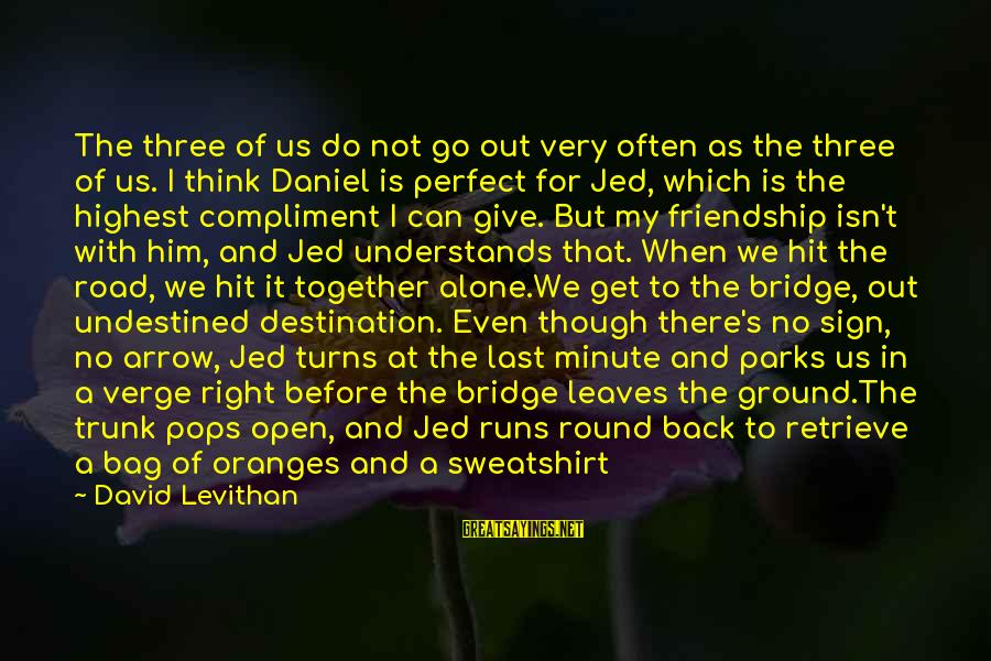 I Think We Can Make It Sayings By David Levithan: The three of us do not go out very often as the three of us.