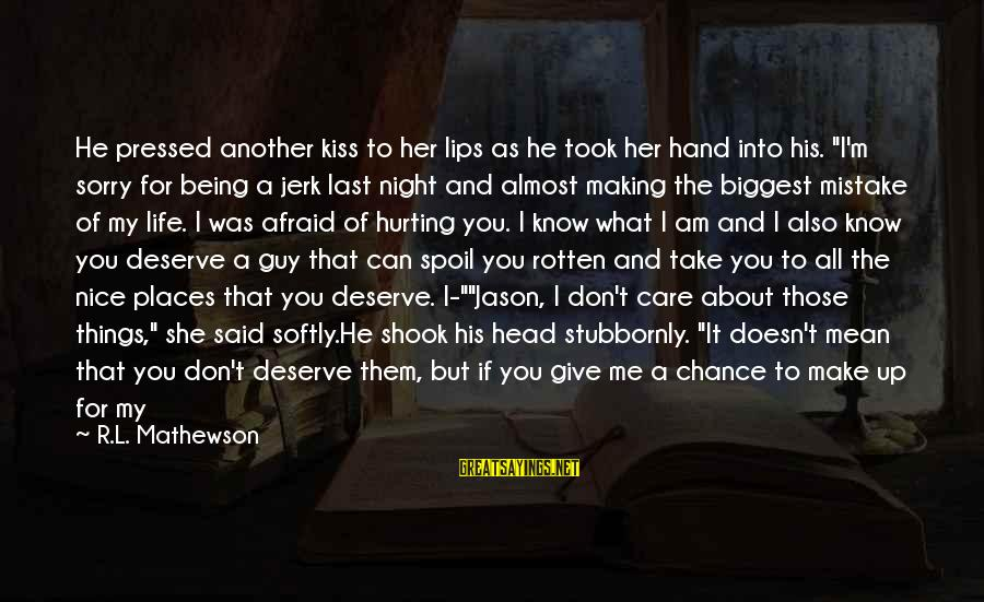 """I Want A Promise Ring Sayings By R.L. Mathewson: He pressed another kiss to her lips as he took her hand into his. """"I'm"""