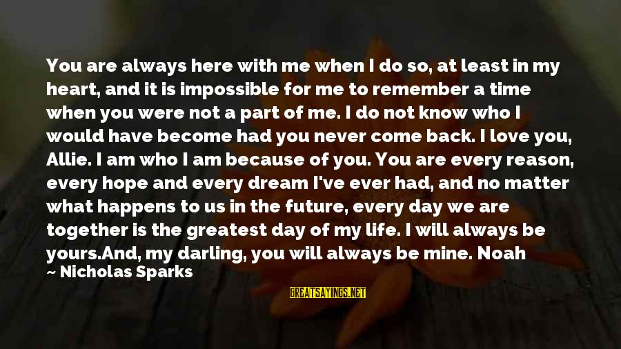 I Will Always Love You No Matter What Sayings By Nicholas Sparks: You are always here with me when I do so, at least in my heart,