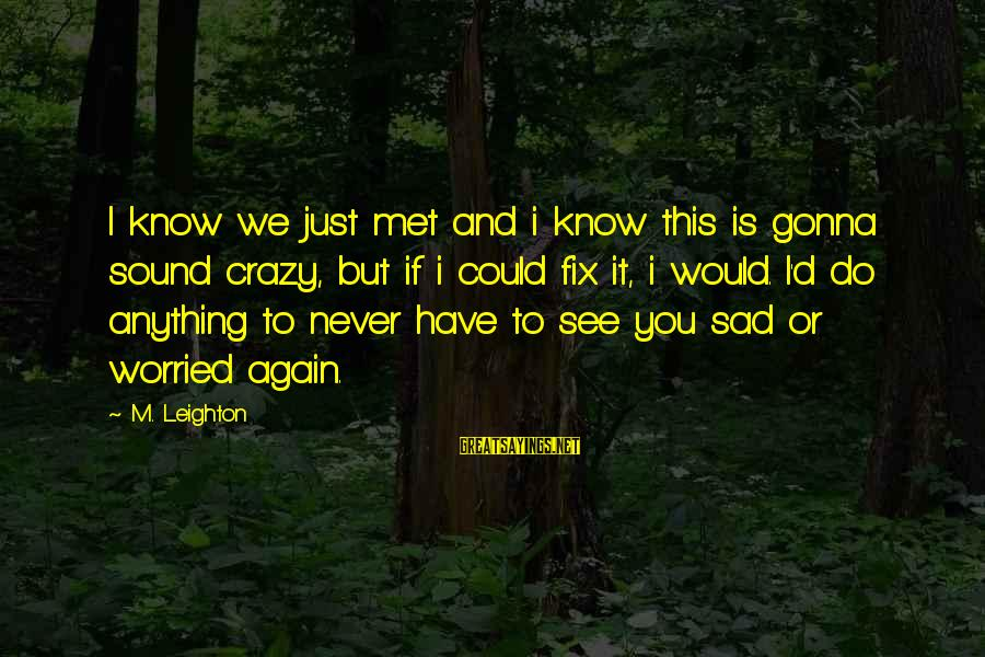 I Would Do Anything To See You Sayings By M. Leighton: I know we just met and i know this is gonna sound crazy, but if