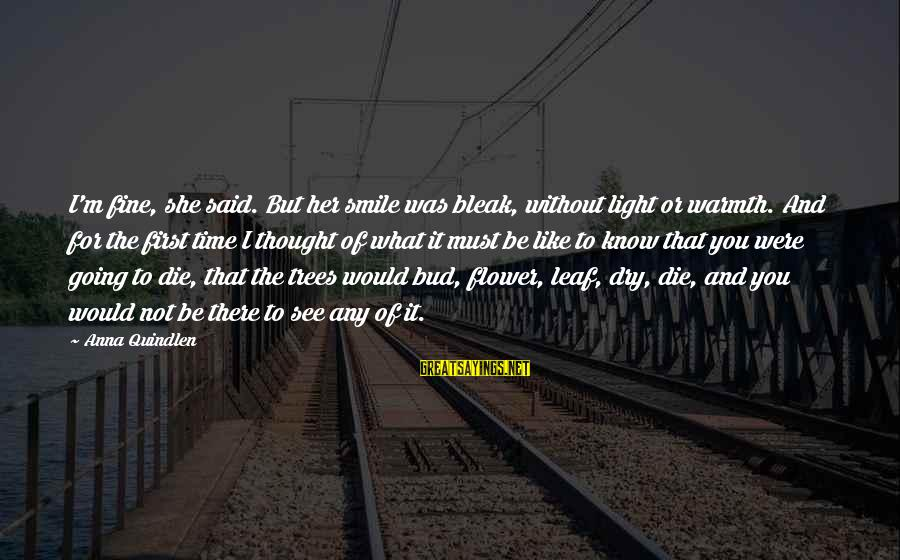 I Would Like To Die Sayings By Anna Quindlen: I'm fine, she said. But her smile was bleak, without light or warmth. And for
