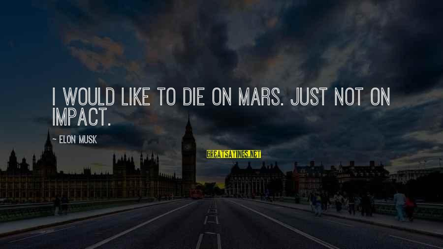 I Would Like To Die Sayings By Elon Musk: I would like to die on Mars. Just not on impact.