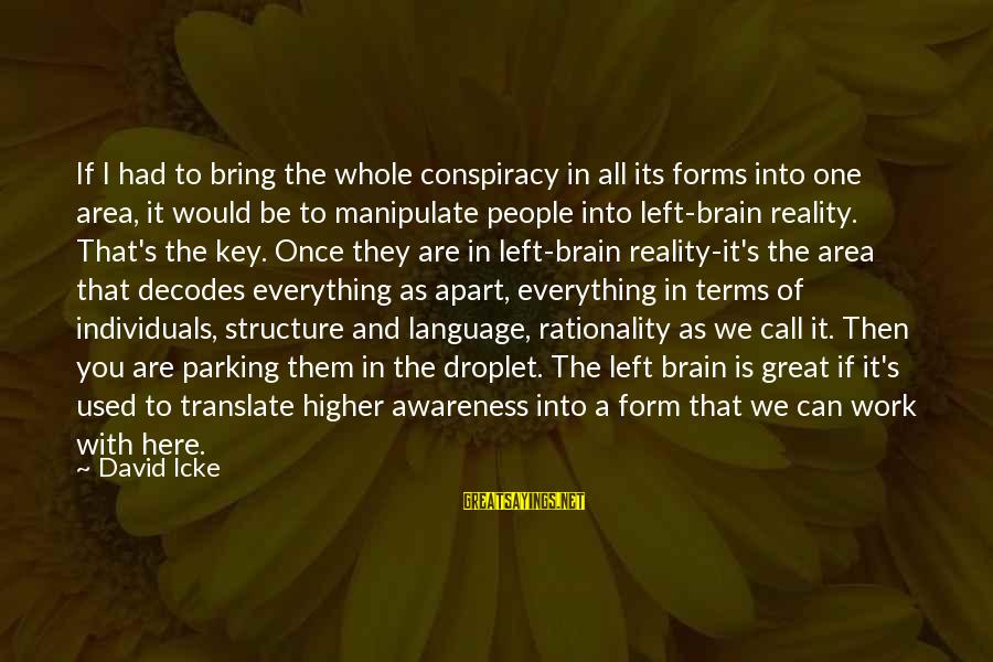 Icke's Sayings By David Icke: If I had to bring the whole conspiracy in all its forms into one area,