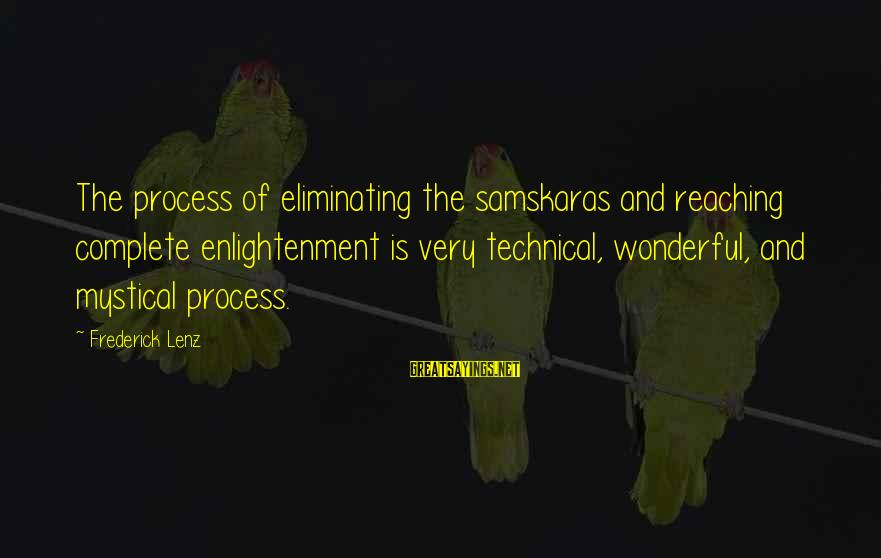 Iditarod Sayings By Frederick Lenz: The process of eliminating the samskaras and reaching complete enlightenment is very technical, wonderful, and