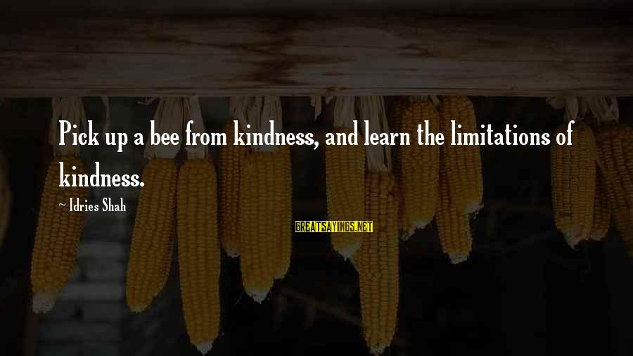 Idries Shah Sayings By Idries Shah: Pick up a bee from kindness, and learn the limitations of kindness.