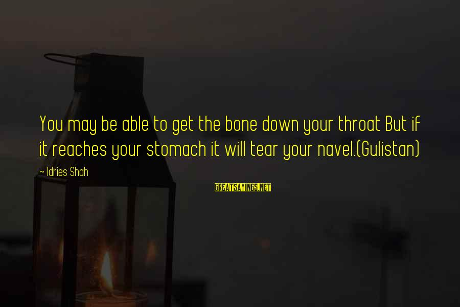 Idries Shah Sayings By Idries Shah: You may be able to get the bone down your throat But if it reaches