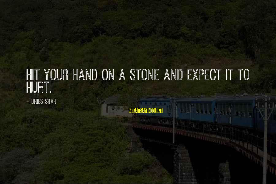 Idries Shah Sayings By Idries Shah: Hit your hand on a stone and expect it to hurt.