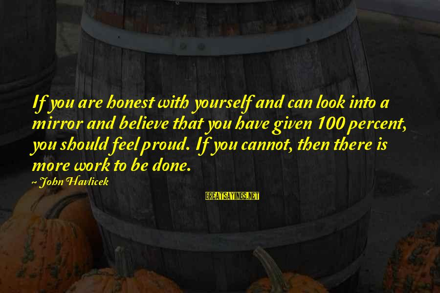 If You Believe Yourself Sayings By John Havlicek: If you are honest with yourself and can look into a mirror and believe that
