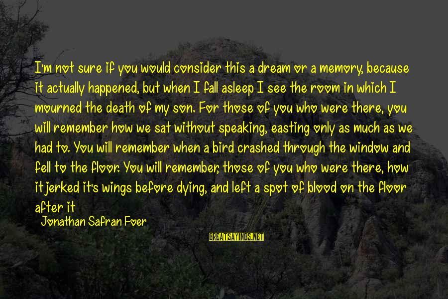 I'm A Better Me Because Of You Sayings By Jonathan Safran Foer: I'm not sure if you would consider this a dream or a memory, because it