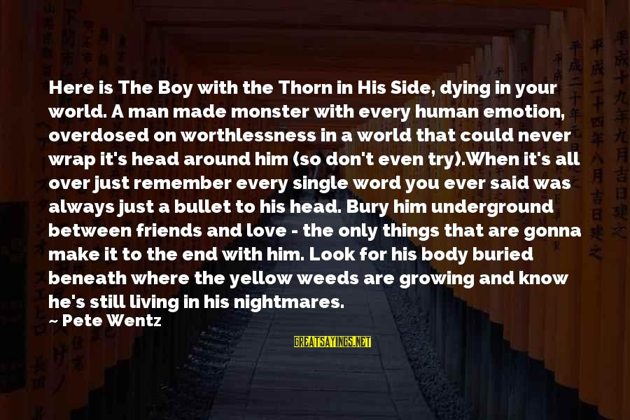 I'm Always Gonna Be Here Sayings By Pete Wentz: Here is The Boy with the Thorn in His Side, dying in your world. A