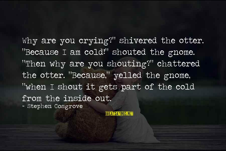 """I'm Crying Inside Sayings By Stephen Cosgrove: Why are you crying?"""" shivered the otter. """"Because I am cold!"""" shouted the gnome. """"Then"""