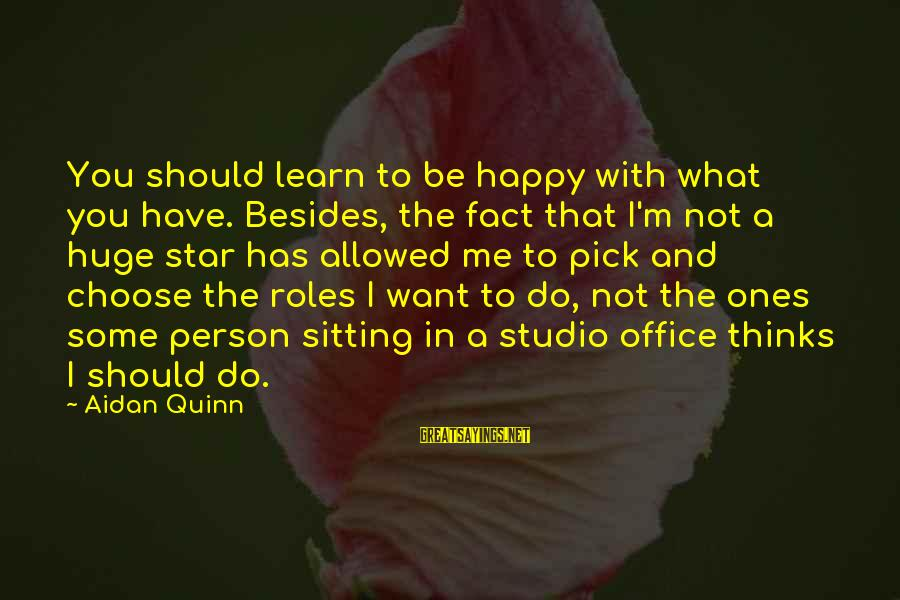 I'm Not Happy With You Sayings By Aidan Quinn: You should learn to be happy with what you have. Besides, the fact that I'm