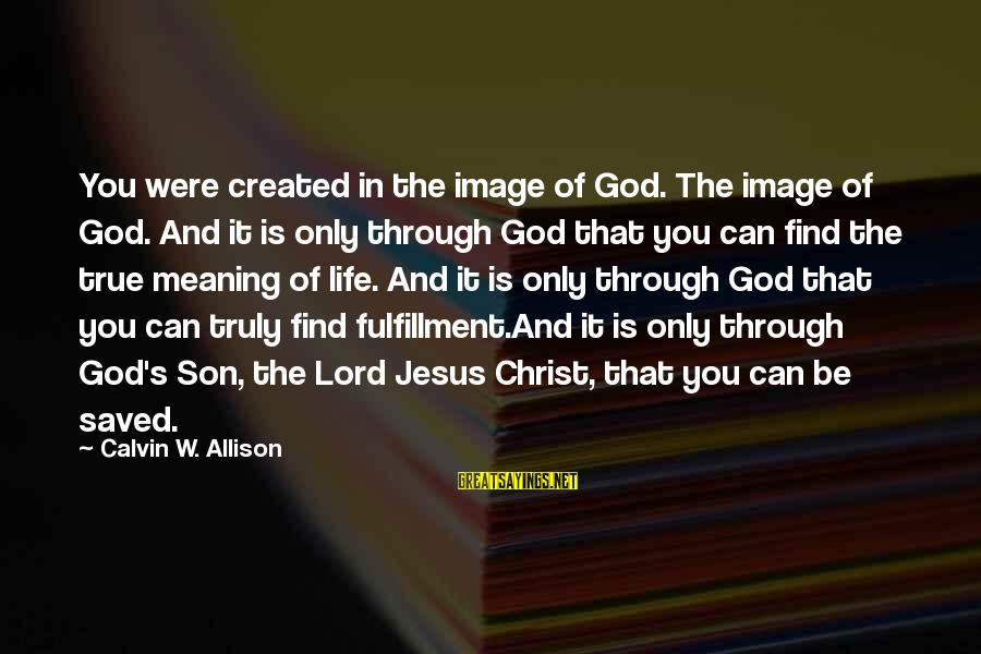 Image In Life Sayings By Calvin W. Allison: You were created in the image of God. The image of God. And it is