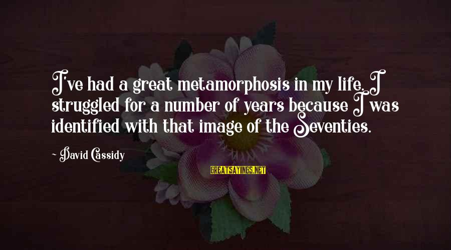 Image In Life Sayings By David Cassidy: I've had a great metamorphosis in my life. I struggled for a number of years
