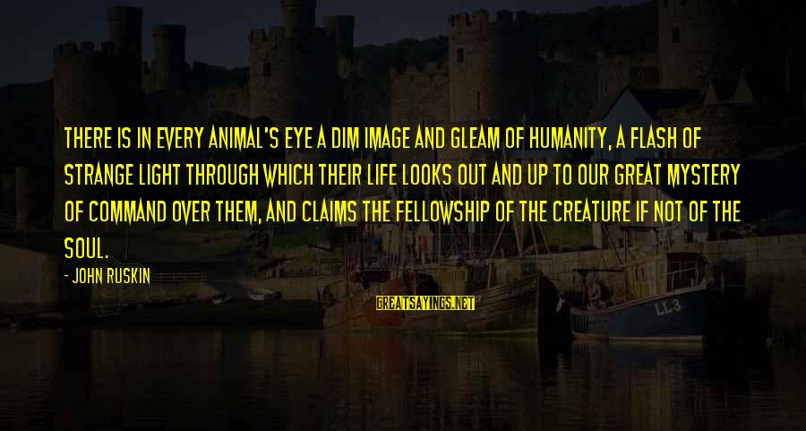 Image In Life Sayings By John Ruskin: There is in every animal's eye a dim image and gleam of humanity, a flash