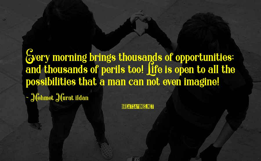 Imagine The Possibilities Sayings By Mehmet Murat Ildan: Every morning brings thousands of opportunities; and thousands of perils too! Life is open to
