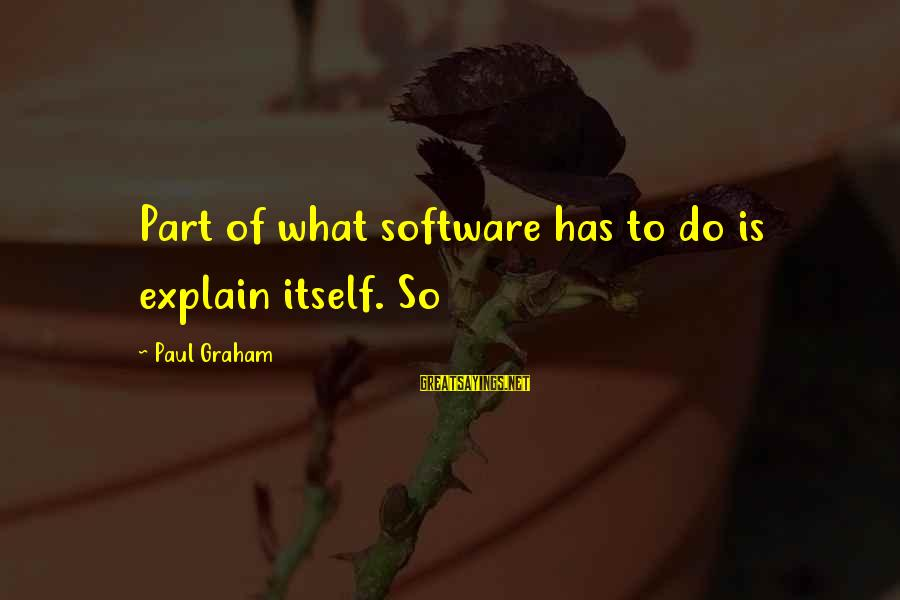 Imam Suhaib Webb Sayings By Paul Graham: Part of what software has to do is explain itself. So