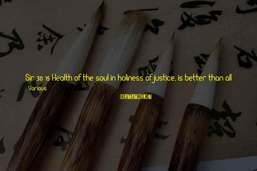 Immense Pleasure Sayings By Various: Sir 30:15 Health of the soul in holiness of justice, is better than all gold