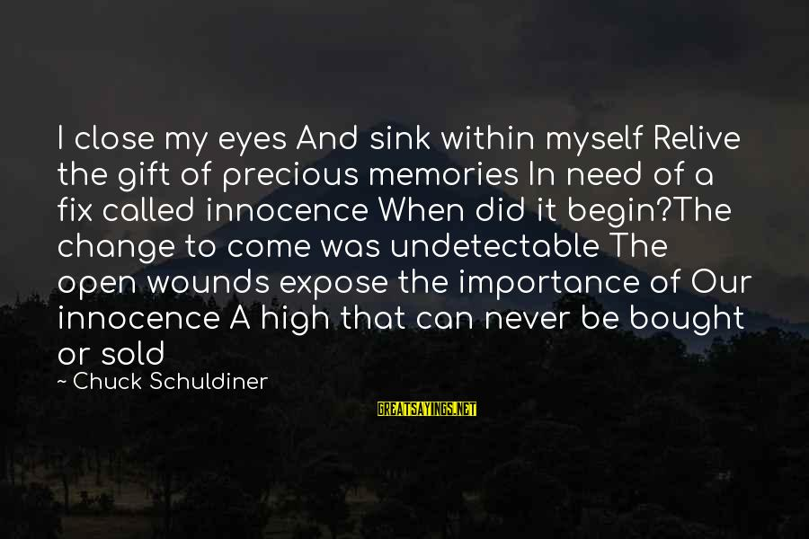 Importance Of Memories Sayings By Chuck Schuldiner: I close my eyes And sink within myself Relive the gift of precious memories In