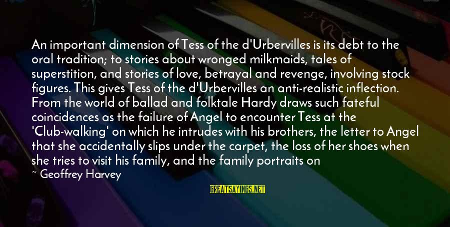 Important Encounter Sayings By Geoffrey Harvey: An important dimension of Tess of the d'Urbervilles is its debt to the oral tradition;