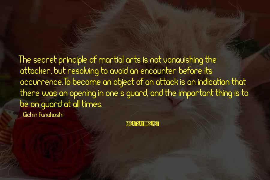 Important Encounter Sayings By Gichin Funakoshi: The secret principle of martial arts is not vanquishing the attacker, but resolving to avoid