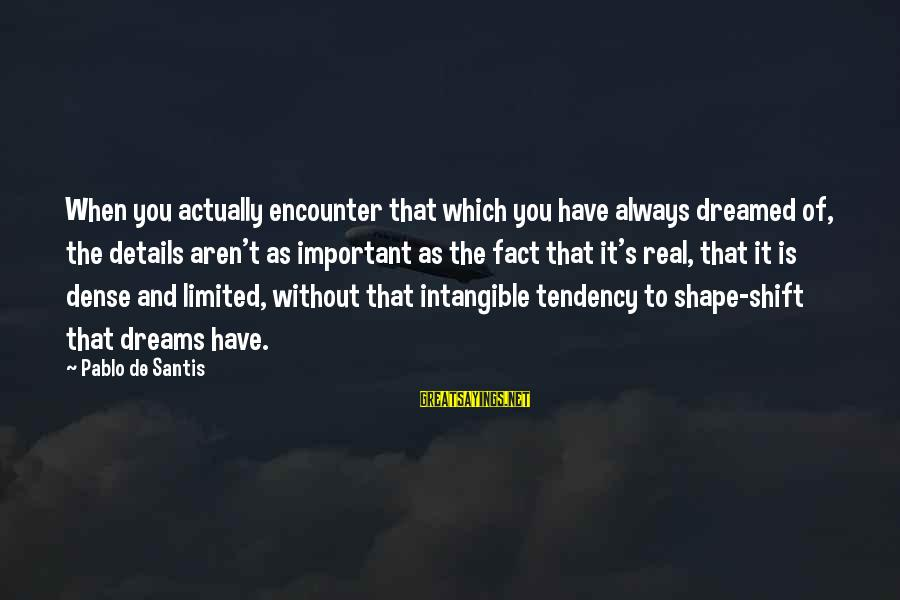 Important Encounter Sayings By Pablo De Santis: When you actually encounter that which you have always dreamed of, the details aren't as