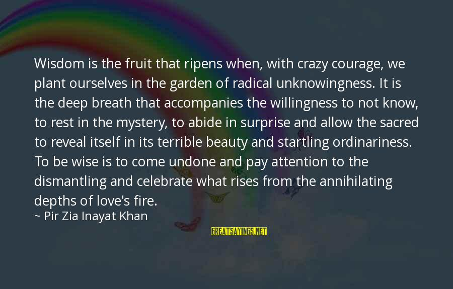 Inayat Khan Love Sayings By Pir Zia Inayat Khan: Wisdom is the fruit that ripens when, with crazy courage, we plant ourselves in the