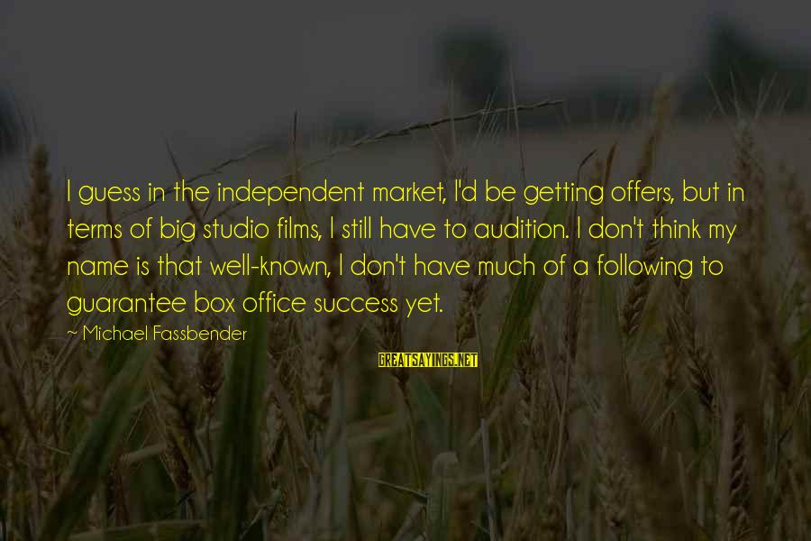 Independent Films Sayings By Michael Fassbender: I guess in the independent market, I'd be getting offers, but in terms of big