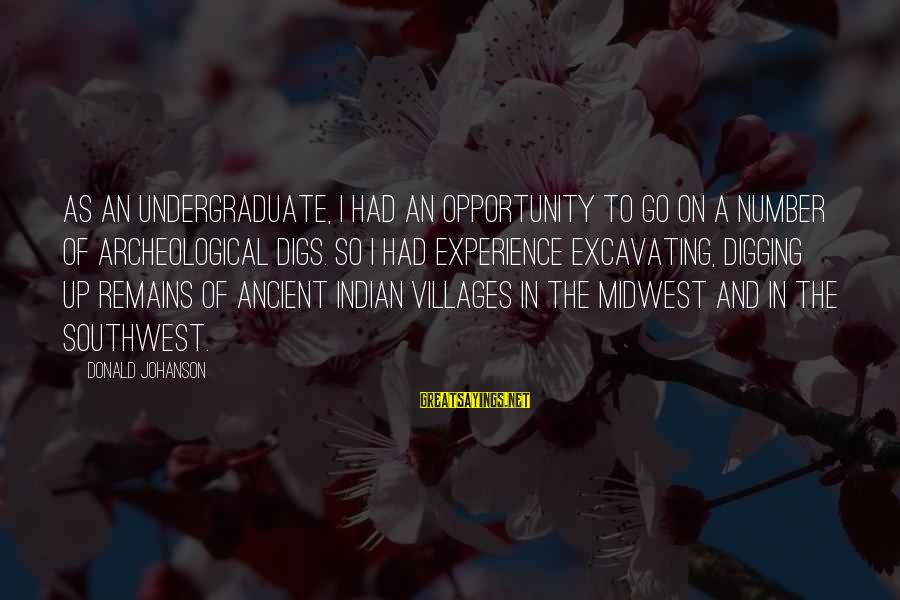 Indian Villages Sayings By Donald Johanson: As an undergraduate, I had an opportunity to go on a number of archeological digs.