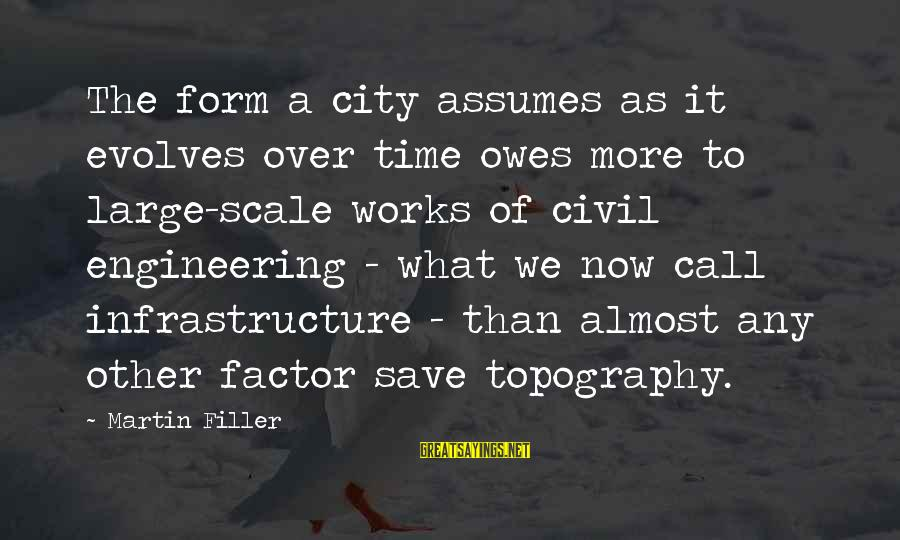 Infrastructure Sayings By Martin Filler: The form a city assumes as it evolves over time owes more to large-scale works