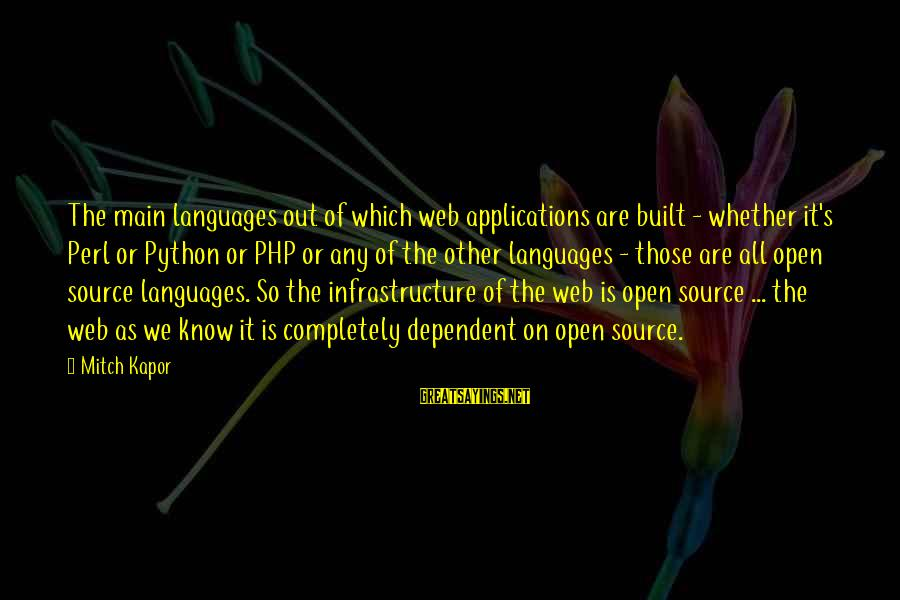 Infrastructure Sayings By Mitch Kapor: The main languages out of which web applications are built - whether it's Perl or