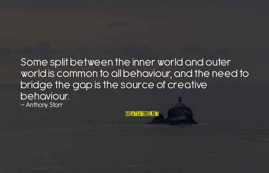 Inner Source Sayings By Anthony Storr: Some split between the inner world and outer world is common to all behaviour, and