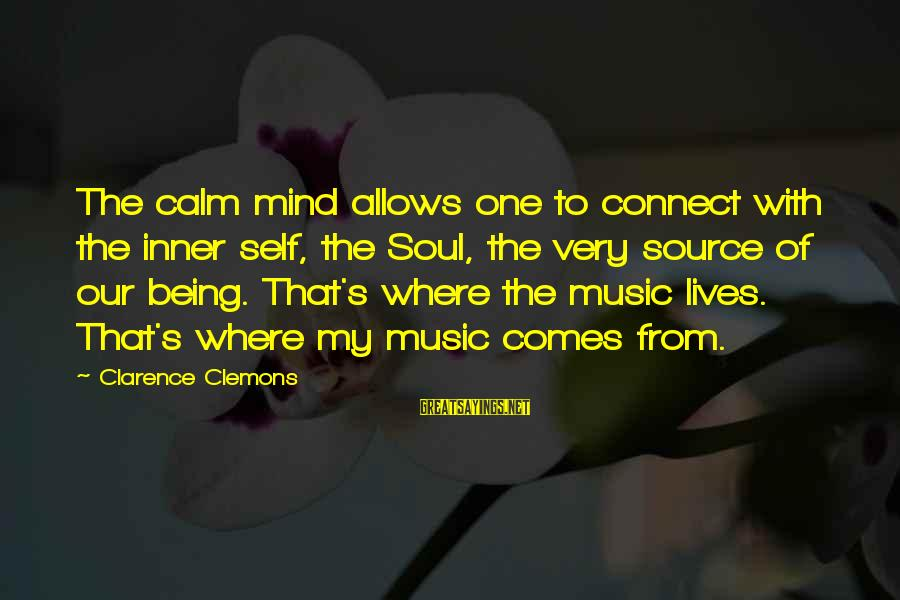 Inner Source Sayings By Clarence Clemons: The calm mind allows one to connect with the inner self, the Soul, the very